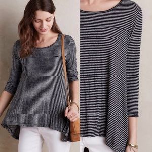 Anthropologie Postmark blk gray striped tunic top